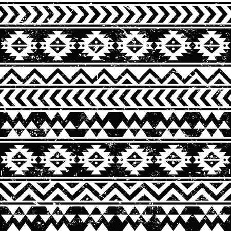 mexican folklore: Aztec tribal seamless grunge white pattern on black background