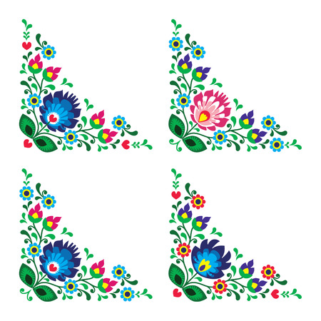 folk art: Corner border Polish floral folk embroidery pattern - wzory lowickie
