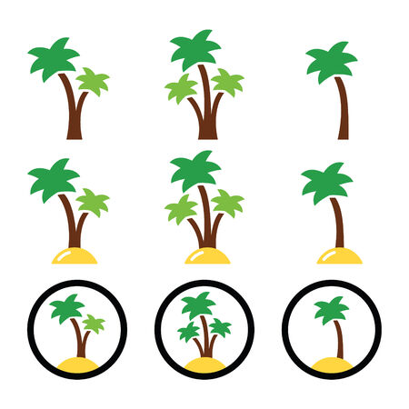 limbs: Palm trees, exotic holidays on beach vector colorful icons set