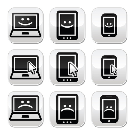 cell damage: Laptop, tablet and phone with cursor arrow, happy and sad faces