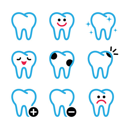 sore: Tooth , teeth vector icons set in color