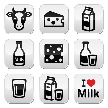 milk bottle: Dairy products - milk, cheese vector buttons set