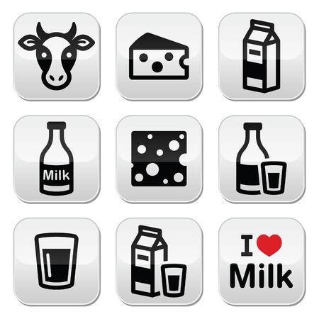 caja de leche: Productos lácteos - leche, los botones del vector Conjunto del queso