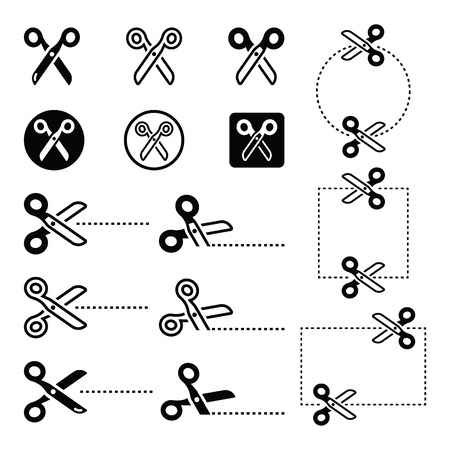 across: Scissors with cut lines icons set  Illustration