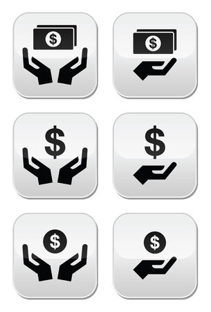 Hands with dollar banknote, coin vector icons set  Vector