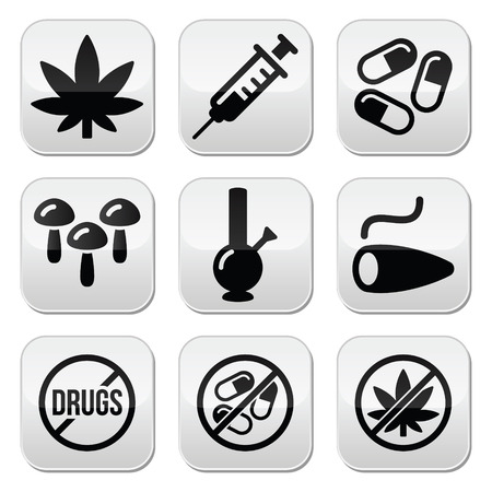 heroin: Drugs, addiction, marijuana, syringe buttons set Illustration