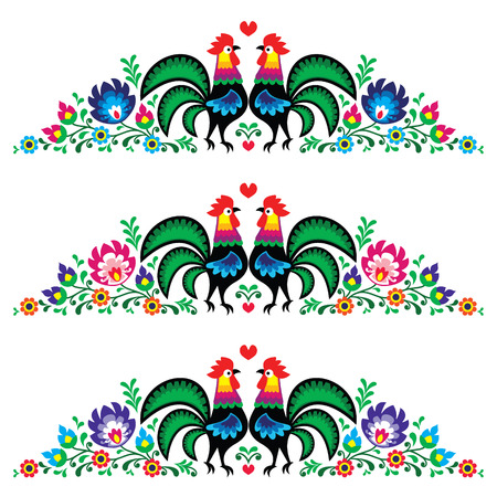 flower card: Polish floral folk long embroidery pattern with roosters - wzory lowickie
