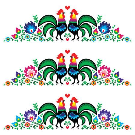Popular floral patrón de bordado largo polaco con gallos - Lowickie wzory Ilustración de vector