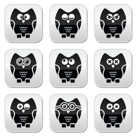 Owl cartoon character vector buttons set Vector