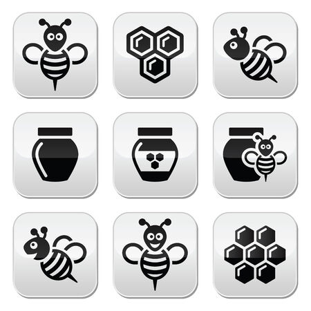 hives: Bee and honey vector icons set