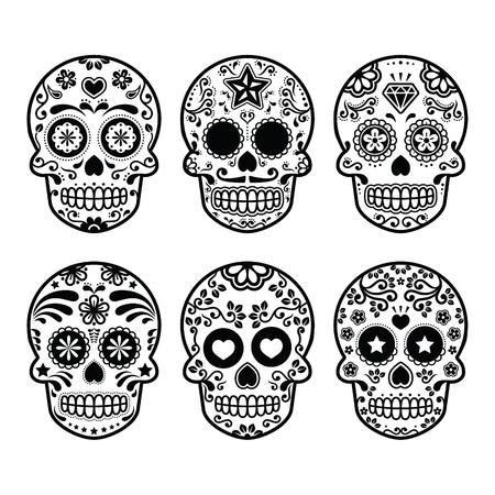 メキシコの砂糖頭蓋骨 Dia デ ロス ムエルトス アイコンを設定  イラスト・ベクター素材