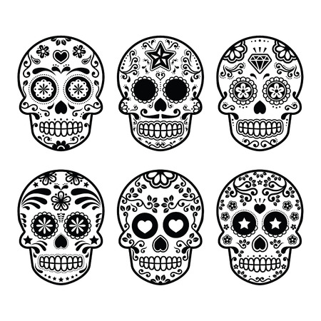morte: Crânio do açúcar mexicana, ícones Dia de los Muertos definido Ilustração