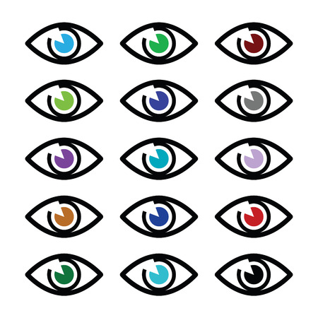 see a doctor: Eye colors sight icons set - vector icons set