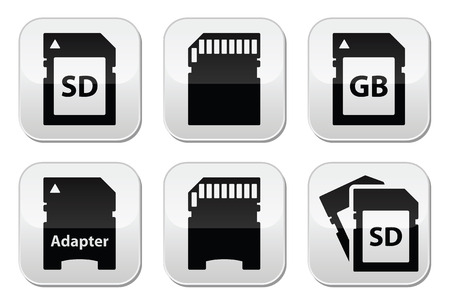 SD, memory card, adapter buttons set  Vector