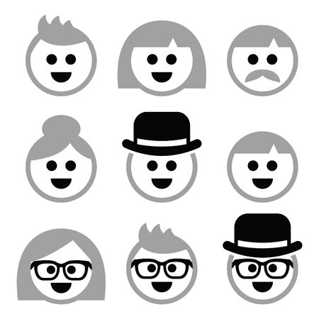 People with grey hair, seniors, old people icons set Vector