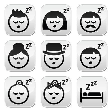 mujer acostada en cama: Dormir, so�ar la gente enfrenta botones configurados