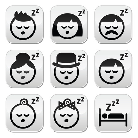 woman sleep: Sleeping, dreaming people faces buttons set