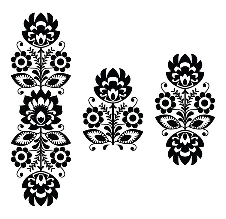 Folk embroidery - floral traditional Polish pattern in black and white Vector
