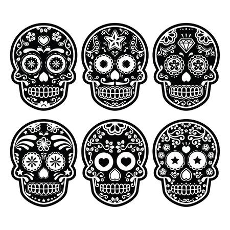 dode bladeren: Mexicaanse suiker schedel, Dia de los Muertos zwarte pictogrammen set Stock Illustratie