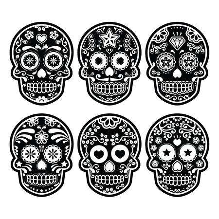 Mexican sugar skull, Dia de los Muertos black icons set Vector