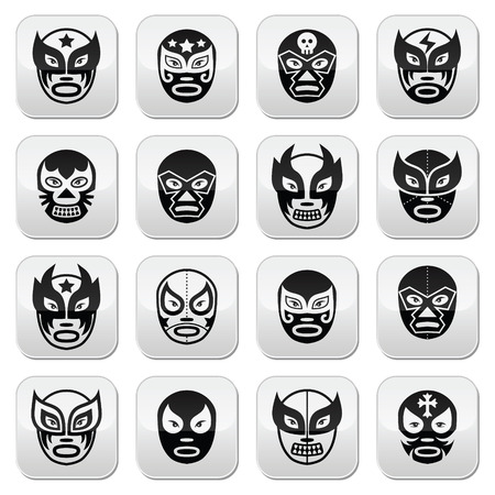 Lucha libre, luchador Mexican wrestling black masks buttons Vector