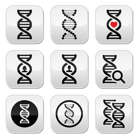 DNA, genetics vector buttons set