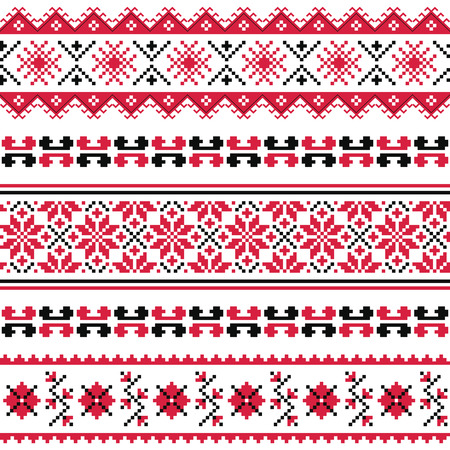 european culture: Ukrainian folk emboidery pattern or print