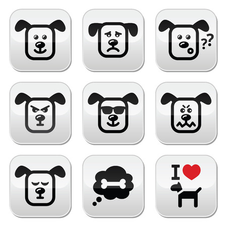 mongrel: Dog buttons set - happy, sad, angry isolated on white