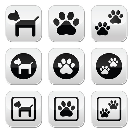 Dog, paw prints vector buttons set Vector