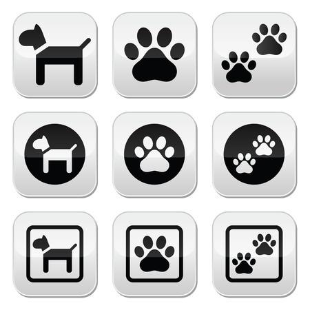 huellas de perro: Perro, impresiones de la pata botones vectoriales conjunto