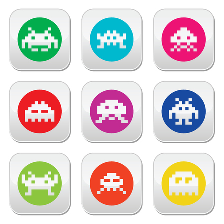 Space invaders, 8-bit aliens round icons set Vector