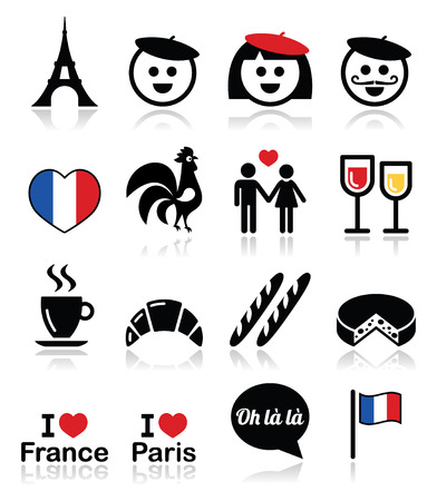 rooster: France, I love Paris vector icons set