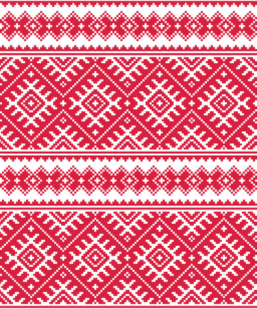 Ukrainian red seamless folk embroidery pattern or print Vector