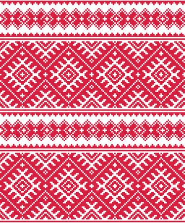 Ukrainian red seamless folk embroidery pattern or print