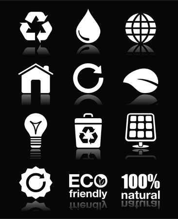 cleaning earth: Ecology, green, recycling vector white icons set on black Illustration