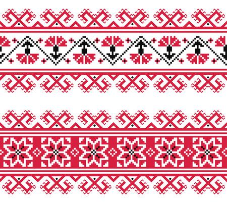 slavic: Ucraino, slavo rosso e grigio tradizionale seamless pattern ricamo piega Vettoriali