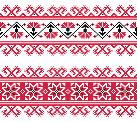 Ukrainian, Slavic red and grey traditional seamless folk embroidery pattern Vector