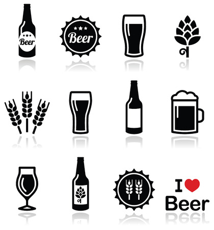 barley hop: Beer vector icons set - bottle, glass, pint