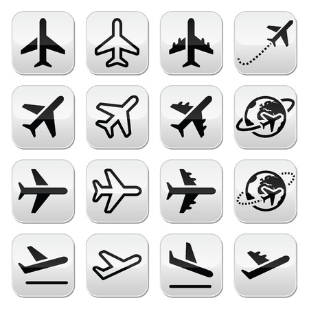 Plane, flight, airport icons set Vector