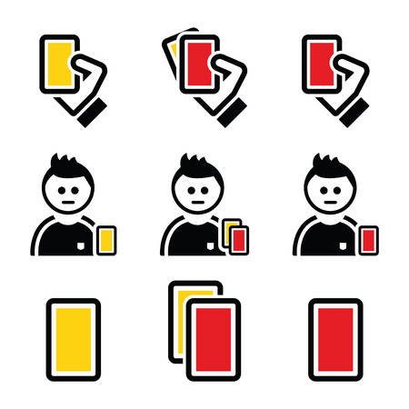soccer referees hand with red card: Football or soccer yellow and red card icons set Illustration