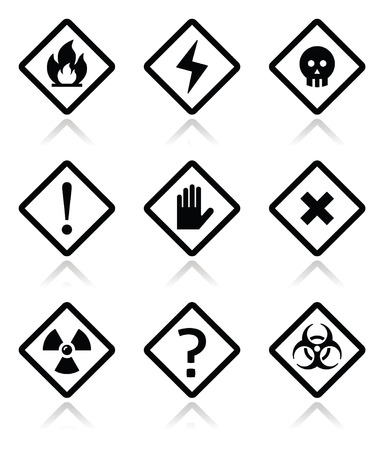 Danger, warning, attention square icons set  Vector