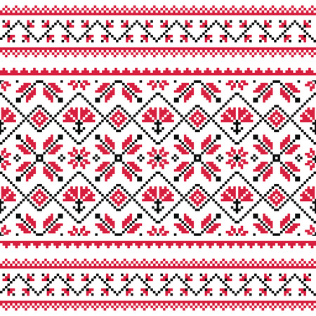 Ukrainian, Slavic folk knitted red emboidery pattern or print Vector