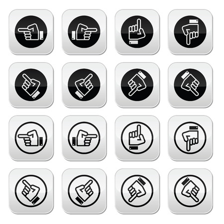 Pointing hand - up, down, across round icon vector Illustration