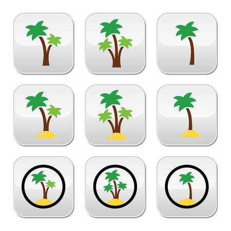 Palm trees, exotic holidays on beach vector colorful icons set Vector