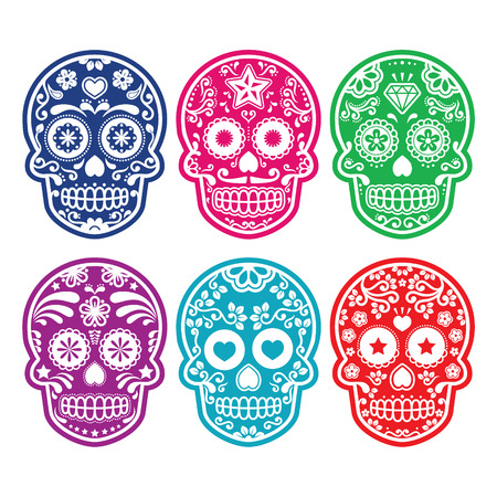 calavera: Calavera de azúcar mexicana, establece iconos de colores Dia de los Muertos