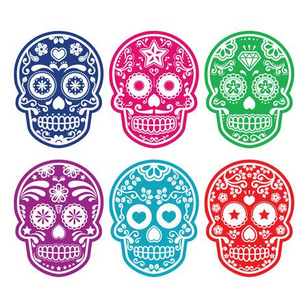 Mexicaanse suiker schedel, Dia de los Muertos kleurrijke pictogrammen instellen