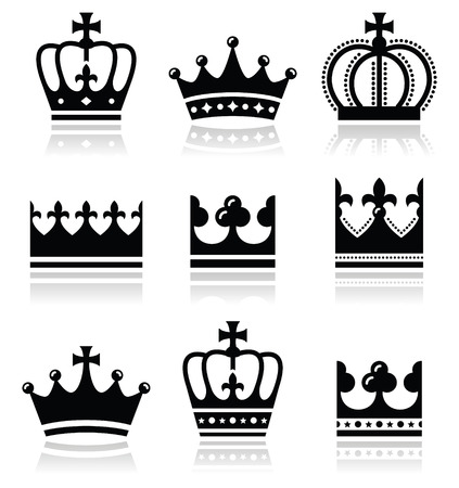 Crown, royal family icons set  Vector