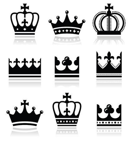 Crown, royal family icons set  Illustration