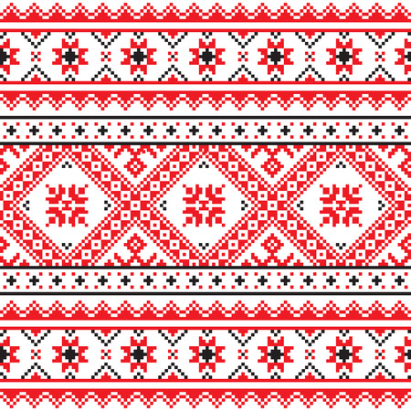 Traditional folk knitted red embroidery pattern from Ukraine Vector