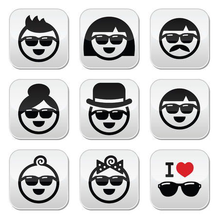 People wearing sunglasses, holidays icons set Vector